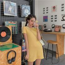 Dress Summer of 2019 Cocoa powder, milk blue, egg tarts yellow, thin black Average size Mid length dress singleton  Short sleeve commute Crew neck High waist Solid color Socket routine 18-24 years old Type H Other / other Korean version
