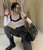 T-shirt Brown, white Average size Autumn 2020 Long sleeves square neck Self cultivation Petal sleeve commute other 30% and below 18-24 years old Korean version