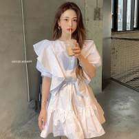 Dress Summer 2020 white Average size Middle-skirt singleton  Short sleeve commute Crew neck High waist Solid color Socket Ruffle Skirt puff sleeve Others Type A Korean version Lace, lace 30% and below