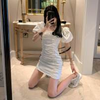 Dress Summer 2020 white S, M Short skirt singleton  Short sleeve commute square neck High waist Solid color other other puff sleeve 18-24 years old Korean version fold 4.16A 51% (inclusive) - 70% (inclusive)