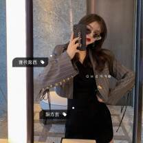 Fashion suit Autumn of 2019 S,M,L Grey skirt l5006, black skirt l5006, striped suit S1010# Other / other 30% and below