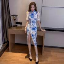 Dress Summer of 2019 blue and white porcelain S,M,L Short skirt singleton  Short sleeve commute High waist Socket routine 18-24 years old Other / other Korean version 31% (inclusive) - 50% (inclusive) polyester fiber