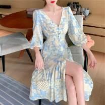 Dress Autumn 2020 V-neck breasted dress S,M,L Mid length dress singleton  three quarter sleeve commute V-neck 18-24 years old Type A Korean version