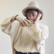 sweater Autumn of 2018 Average size Long sleeves Socket singleton  have cash less than that is registered in the accounts other 30% and below Crew neck Regular commute routine Solid color Bat type Coarse wool Keep warm and warm 18-24 years old