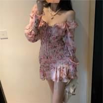 Dress Autumn 2020 Pink S,M,L Short skirt singleton  Long sleeves commute square neck High waist 18-24 years old Korean version