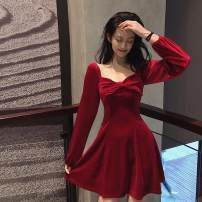 Dress Spring 2020 Red, black S,M,L Short skirt singleton  Long sleeves commute High waist Solid color Socket routine 18-24 years old Other / other Korean version bow G403