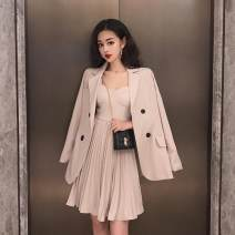 Fashion suit Autumn of 2019 S,M,L Apricot pleated skirt, apricot suit 18-25 years old Other / other