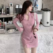 Dress Autumn 2020 Grey, pink Average size Short skirt singleton  Long sleeves commute V-neck zipper routine Others 18-24 years old Korean version