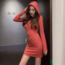 T-shirt Black, brick red Autumn of 2019 Long sleeves Hood Self cultivation Medium length routine commute other 31% (inclusive) - 50% (inclusive) 18-24 years old Korean version youth Solid color Other / other thread