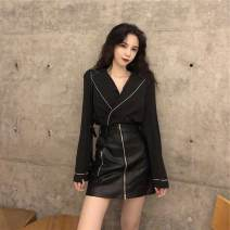 shirt Black leather skirt, black shirt S. M, one size fits all (160 / 84A) Summer of 2019 other 91% (inclusive) - 95% (inclusive) Long sleeves commute Regular V-neck Socket routine Solid color 18-24 years old Straight cylinder Other / other Retro D3675
