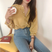 shirt Yellow, black Average size Autumn of 2018 other 81% (inclusive) - 90% (inclusive) Long sleeves Regular Crew neck Single row multi button routine lattice Other / other