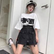 skirt Summer of 2019 S,M,L Black, Khaki Short skirt commute High waist A-line skirt Solid color Type A 18-24 years old Pocket, tridimensional decoration, bandage, zipper, stitching Korean version
