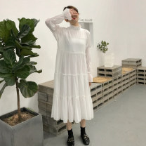 Dress Spring of 2018 White, dark brown Average size Mid length dress singleton  Long sleeves commute Cake skirt 18-24 years old tpny Korean version More than 95% other polyester fiber