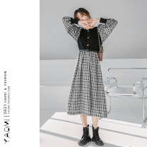 Dress Spring 2021 black Average size longuette singleton  Long sleeves Sweet Crew neck High waist lattice Socket A-line skirt routine Others 18-24 years old Type A Button other solar system