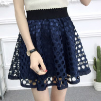 skirt Summer 2021 S,M,L,XL Short skirt commute High waist Fluffy skirt Solid color Type A 18-24 years old Lace Other / other other Gauze, lace Korean version