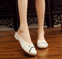 canvas shoe Other / other Low Gang Beige white 34 35 36 37 38 39 40 41 Spring of 2018 Trochanter ethnic style Ox tendon Solid color flower 412-22ddht