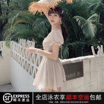 one piece  Xuandiao M,L,XL Pearly Skirt one piece With chest pad without steel support female Short sleeve Casual swimsuit Solid color Pleating