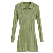 Dress Autumn 2020 white , black , blue , violet , green , Deep Khaki S, M Short skirt singleton  Long sleeves street Polo collar High waist Solid color Single breasted A-line skirt routine 25-29 years old Type A Button 91% (inclusive) - 95% (inclusive) knitting cotton Europe and America