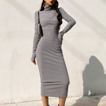 Dress Winter 2020 S, M Mid length dress singleton  Long sleeves street High collar High waist Solid color Socket One pace skirt routine 25-29 years old Type H 71% (inclusive) - 80% (inclusive) knitting cotton Europe and America