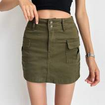 skirt Summer 2020 25,26,27,28,29 Light blue, army green Short skirt street High waist A-line skirt Solid color Type A 18-24 years old 81% (inclusive) - 90% (inclusive) Denim cotton pocket Europe and America