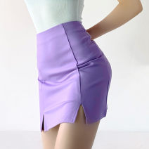 skirt Summer 2021 S,M,L Black, blue, purple Short skirt street High waist skirt Solid color Type O 18-24 years old 91% (inclusive) - 95% (inclusive) brocade cotton zipper Europe and America