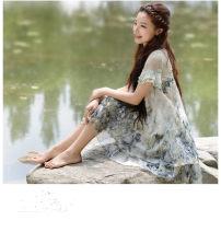 Dress Summer of 2019 Pink flower, freehand ink painting, ink lotus Middle-skirt singleton  Short sleeve commute Crew neck Loose waist Decor Socket Ruffle Skirt Lotus leaf sleeve Others Korean version Stitching, printing Chiffon