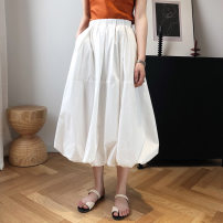 skirt Summer 2020 L, M Black, white, orange purple Mid length dress Retro High waist Flower bud skirt Solid color Type A 81% (inclusive) - 90% (inclusive) Other / other cotton Splicing