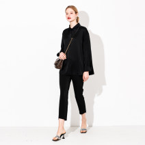 Women's large Spring 2021 Imported acetic acid black, imported acetic acid powder 2XL (size 42-44), 4XL (size 46-48), 6xl (size 50), l (size 38-40) shirt singleton  commute Cardigan Korean version DS-5211C April 9th 25-29 years old