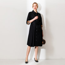 Women's large Spring 2021 Chao looks thin and black XL (size 40), 2XL (size 42), 3XL (size 44), 4XL (size 46), 5XL (size 48), 6xl (size 50), l (size 38) Dress singleton  commute Cardigan Korean version DS-5059L April 9th 25-29 years old