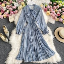 Dress Spring 2021 Off white, light blue, black, brownish red Average size singleton  Long sleeves commute other High waist Solid color Socket A-line skirt routine Others 18-24 years old Type A 30% and below other other