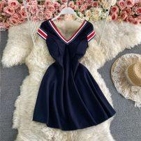 Dress Spring 2021 Navy Blue M, L Middle-skirt singleton  Short sleeve commute V-neck High waist stripe Socket A-line skirt raglan sleeve Others 18-24 years old Type A Korean version zipper 30% and below other other