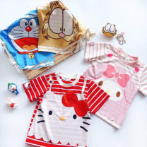 T-shirt Red striped Kitty, pink striped Merlot, Kitty pre-sale about 10 days delivery, Merlot pre-sale about 10 days delivery Other / other 100cm, 110cm, 120cm, 130cm, 140cm, 150cm, add the collection to the shopping cart, order and enjoy the priority of delivery female summer Short sleeve Crew neck