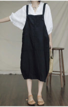 Dress Summer of 2019 Black, brown Average size Mid length dress singleton  commute Loose waist straps Retro 71% (inclusive) - 80% (inclusive) hemp