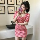 Dress Summer 2021 Black and white check, red and white check Average size Short skirt singleton  Short sleeve commute square neck middle-waisted lattice Socket Pencil skirt puff sleeve 18-24 years old Type H M375 51% (inclusive) - 70% (inclusive) other polyester fiber