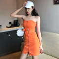 Dress Summer 2021 Black, orange S, M Middle-skirt singleton  Sleeveless commute other Elastic waist Solid color Socket other Breast wrapping 18-24 years old Other / other Korean version 31% (inclusive) - 50% (inclusive) other
