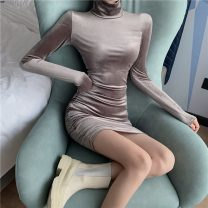 Dress Spring 2021 Picture color S, M Short skirt singleton  Long sleeves commute High collar Solid color Socket Pencil skirt routine Others 51% (inclusive) - 70% (inclusive) cotton
