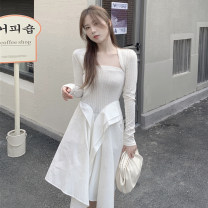Dress Spring 2021 white S, M Mid length dress Two piece set Long sleeves commute One word collar Solid color Socket other routine Others Retro 51% (inclusive) - 70% (inclusive) cotton