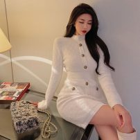 Dress Winter 2020 White, black Average size Short skirt singleton  Long sleeves commute Crew neck Solid color Single breasted Pencil skirt routine Others A762 51% (inclusive) - 70% (inclusive) cotton