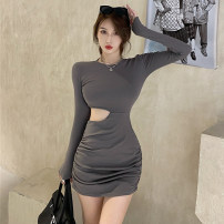 Dress Autumn 2020 Gray, black Average size Short skirt singleton  Long sleeves commute Crew neck High waist Solid color Socket Pencil skirt puff sleeve Others 51% (inclusive) - 70% (inclusive) cotton