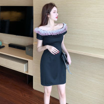 Dress Summer 2021 black S,M,L Short skirt singleton  Short sleeve commute One word collar Solid color other Others Retro 51% (inclusive) - 70% (inclusive) cotton