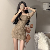 Dress Summer 2021 khaki S,M,L Short skirt singleton  Long sleeves commute square neck High waist Solid color Socket other Others 51% (inclusive) - 70% (inclusive) other