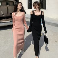 Dress Spring 2021 Black, orange pink Average size Mid length dress singleton  Long sleeves commute square neck Solid color Socket other routine camisole 51% (inclusive) - 70% (inclusive) cotton