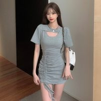 Dress Summer 2021 Gray, black Average size Short skirt singleton  Short sleeve commute Crew neck High waist Solid color Socket Pencil skirt routine Others 51% (inclusive) - 70% (inclusive) cotton