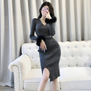Dress Spring 2021 Silver grey black Average size longuette singleton  Long sleeves commute V-neck High waist Solid color Socket One pace skirt routine 18-24 years old Type H Korean version Splicing M231 51% (inclusive) - 70% (inclusive) knitting polyester fiber