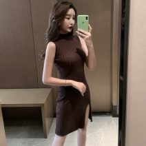 Dress Spring 2021 Brown, black Average size Short skirt singleton  Sleeveless commute High collar middle-waisted Solid color Socket One pace skirt Others 18-24 years old Other / other Korean version 31% (inclusive) - 50% (inclusive) other