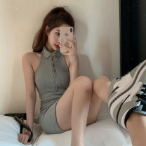 Dress Summer 2021 Gray, white, blue Average size Short skirt singleton  Sleeveless commute Polo collar High waist Solid color Single breasted Hanging neck style Korean version 51% (inclusive) - 70% (inclusive)