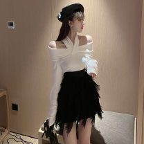 Fashion suit Spring 2021 S. M, l, average size White coat, black coat, tassel skirt 51% (inclusive) - 70% (inclusive)