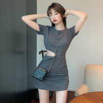 Dress Spring 2021 Picture color Average size Short skirt singleton  Short sleeve commute Crew neck High waist Solid color Socket Pencil skirt routine Others Type H Simplicity 51% (inclusive) - 70% (inclusive) cotton