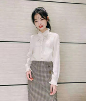 shirt Off white, white 2 = s, 3 = m, 4 = L, 5 = XL Spring 2021 Cellulose acetate 81% (inclusive) - 90% (inclusive) Long sleeves commute Regular Lotus leaf collar Single row multi button routine Solid color Self cultivation Pinge Dixin Simplicity Chiffon