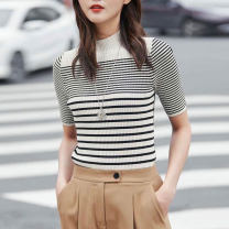 T-shirt Black and white stripes, red stripes 2 = s, 3 = m, 4 = L, 5 = XL Summer 2021 Short sleeve Half high collar Self cultivation Regular routine commute Viscose 51% (inclusive) - 70% (inclusive) Ol style Pinge Dixin